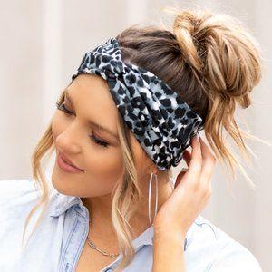 Black Leopard Twist Headband